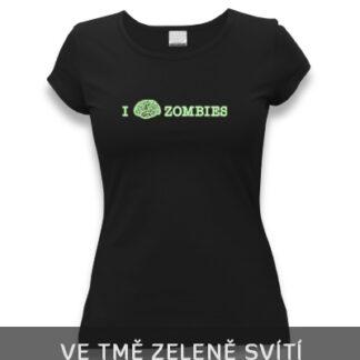 tričko dámské se svítícím zombie potiskem - mozek