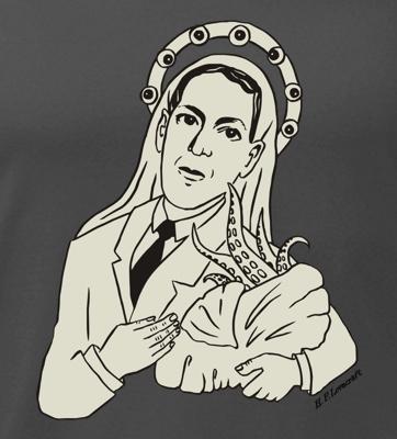 detail potisku trička Lovecraft
