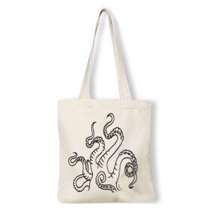 plátěná nákupní taška s potiskem chapadla bavlna natural