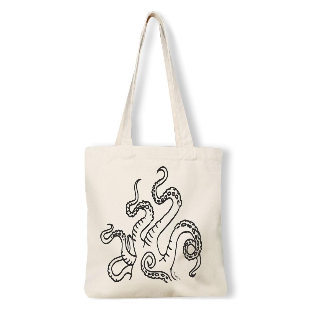61a463c56 plátěná nákupní taška s potiskem chapadla bavlna natural
