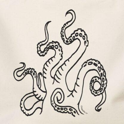 detail plátěné nákupní tašky s potiskem chapadla bavlna natural